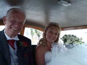 Image of Jo and her Dad in the Morris Minor